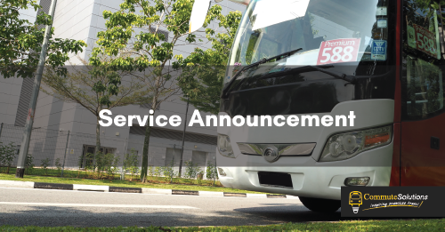 Commute Solutions Premium Bus Services will resume from 2 June
